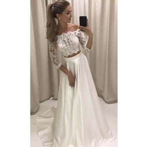 Two Pieces Long Sleeves Lace Off the Shoulder Long Sleeves Long Wedding Dresses, BG51633