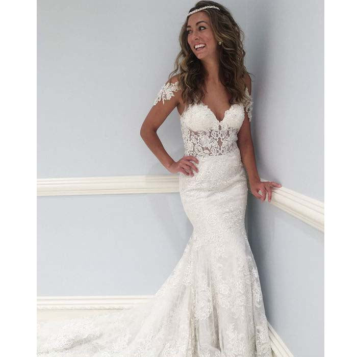 Unique Mermaid V Neck Lace V Back Long Wedding Dresses, BG51634