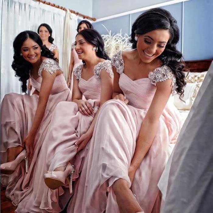 Cap Sleeve Pink Elegant Cheap Long Bridesmaid Dresses, BG51640