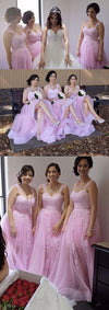 Pink Elegant Popular Lace Tulle Cheap Long Bridesmaid Dresses, BG51641