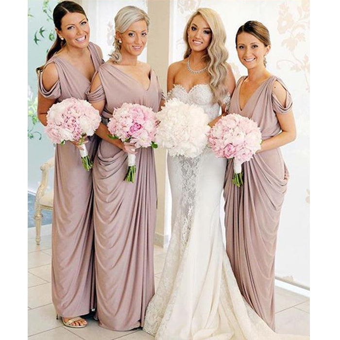 Cheap Jersey Elegant Formal Wedding Party Guest Long Bridesmaid Dresses, BG51642
