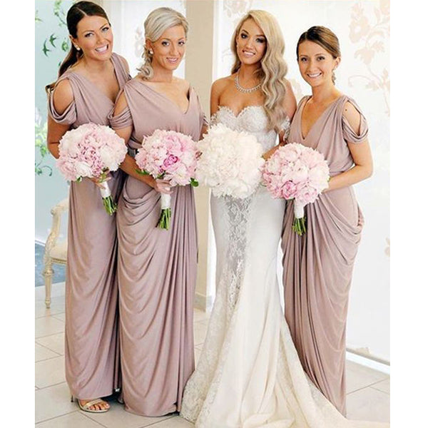 Cheap Jersey Elegant Formal Wedding Party Guest Long Bridesmaid Dresses, BG51642 - Bubble Gown