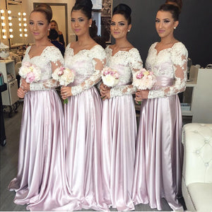 Long Sleeves Lace Top Formal On Sale Wedding Long Bridesmaid Dresses, BG51643