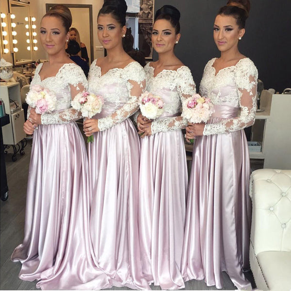 Long Sleeves Lace Top Formal On Sale Wedding Long Bridesmaid Dresses, BG51643 - Bubble Gown