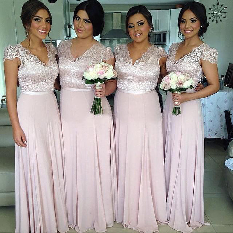 Cap Sleeves Lace Top Formal On Sale Wedding Long Bridesmaid Dresses, BG51644