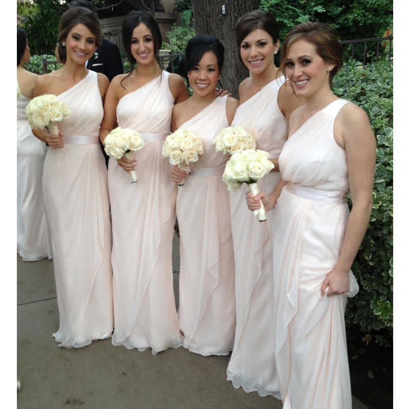 One Shoulder Cheap Wedding Long Bridesmaid Dresses, BG51648