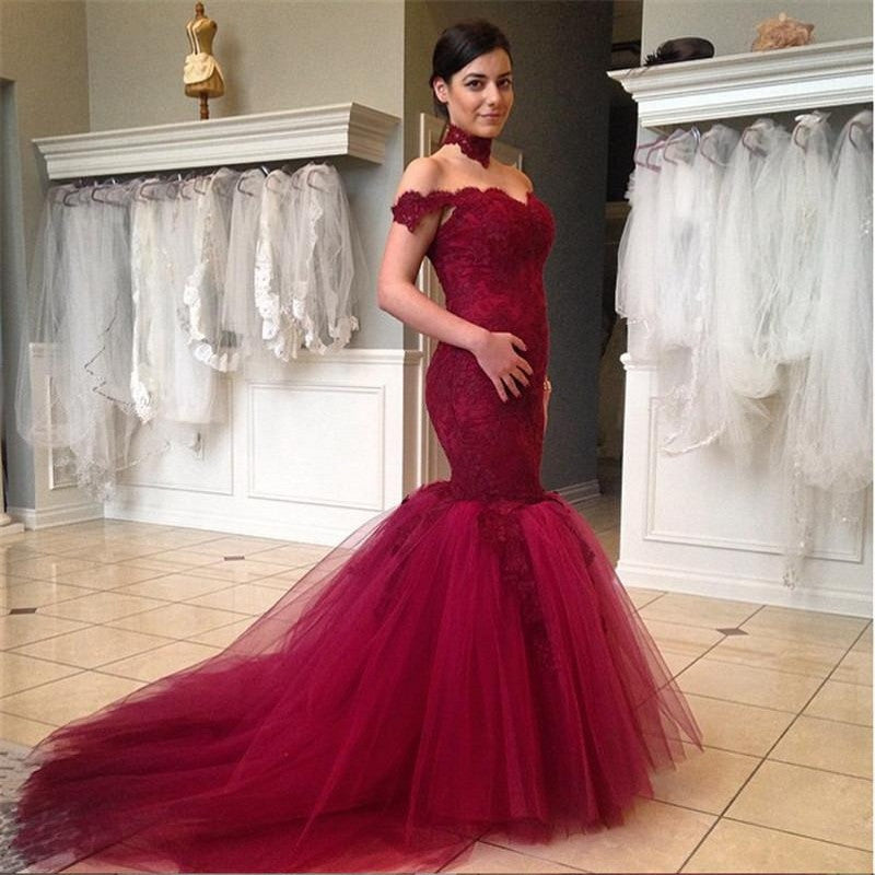 Burgundy Off Shoulder Lace Mermaid Gorgeous Long Prom Dress, BG51039