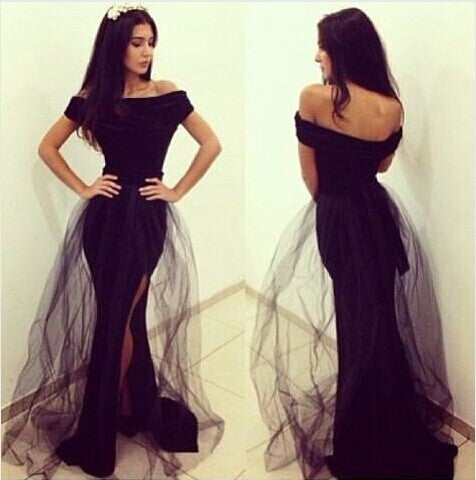 Unique Black Mermaid Cap Sleeve Side Slit Long Prom Dress, BG51022