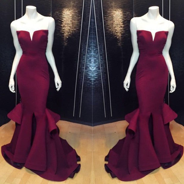 Burgundy Mermaid Elegant Cheap Long Prom Dresses, BG51172