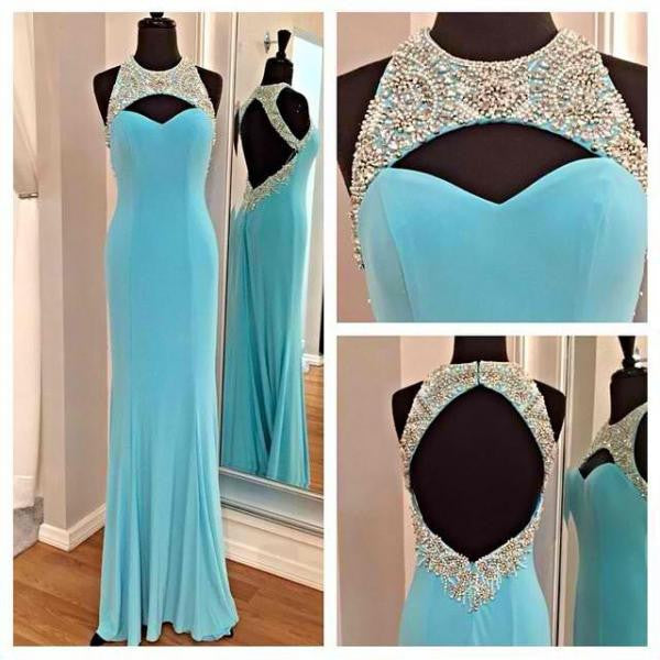 Blue Young Girls Open Back Pretty Cheap Long Prom Dress, BG51037 - Bubble Gown