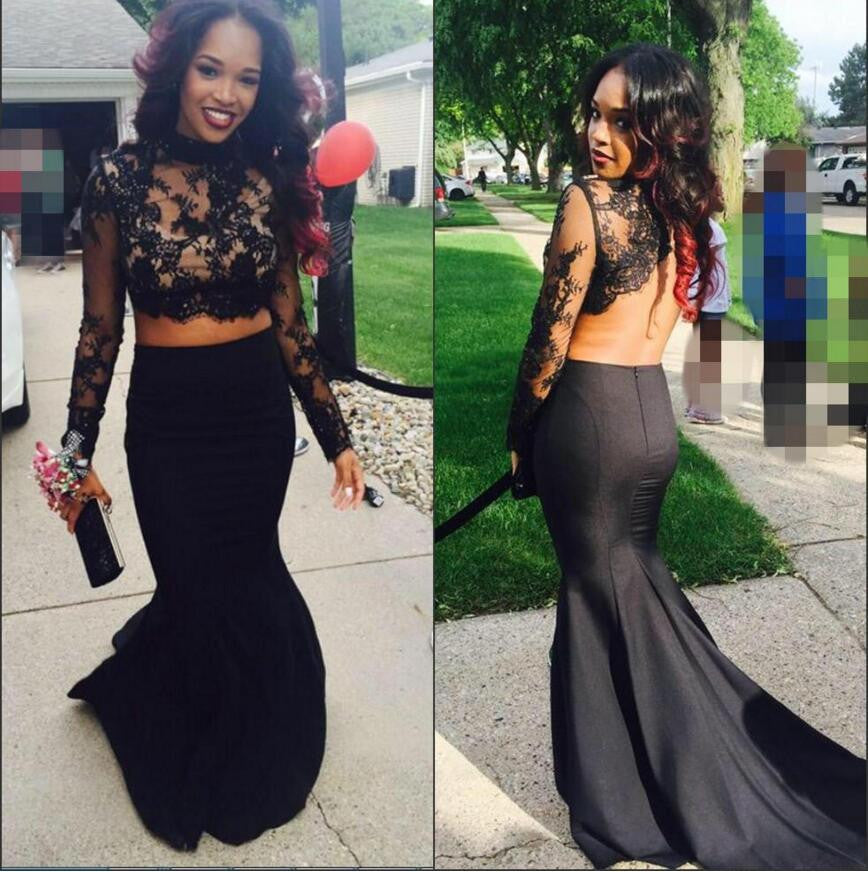 Two Pieces Long Sleeve Black Lace Backless Mermaid Sexy Long Prom Dress, BG51023