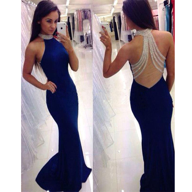 Beaded See Through Back Royal Blue High Neck Mermaid Long Prom Dress, BG51100