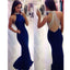 Beaded See Through Back Royal Blue High Neck Mermaid Long Prom Dress, BG51100 - Bubble Gown