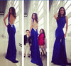 Royal Blue Open Back Popular Long Prom Dresses, BG51191