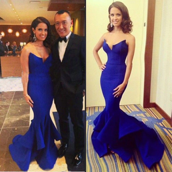 Beautiful Royal Blue Sexy Mermaid Long Prom Dresses, BG51020