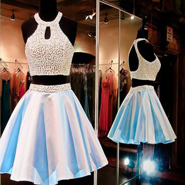 2 Pieces Open Back Lovely Beaded Short Homecoming Dresses, BG51406