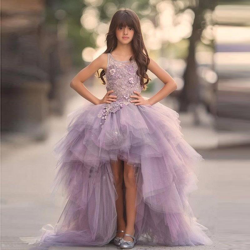 Round Neckline Hi-low Light Purple Tulle Lace Flower Girl Dresses, Little Girl Dresses, FG068