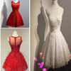 Red Lace Applique Seen Through Back Beautiful Homecoming Dresses, BG51431