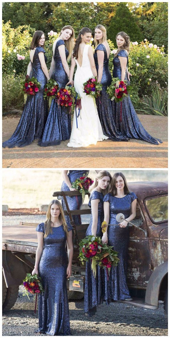 Charming Cap Sleeve Royal Blue Mermaid Long Sequin Bridesmaid Dresses, BG51075 - Bubble Gown