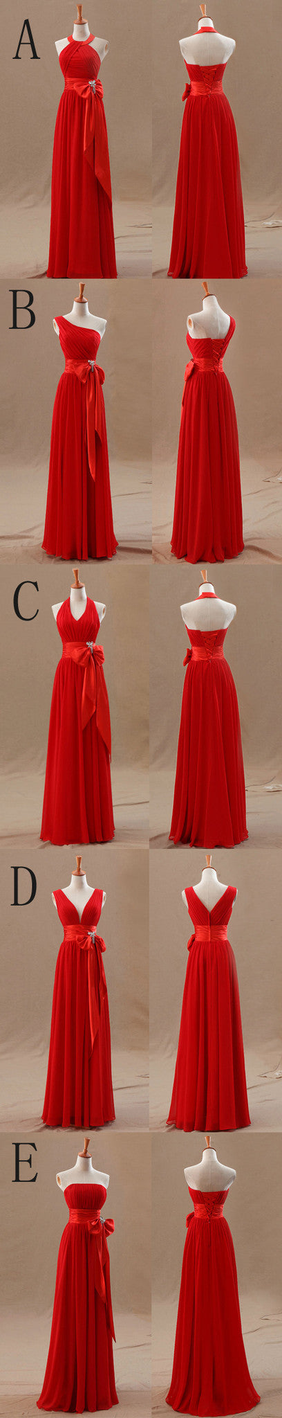 A Line Mismatched Junior Red Long Bridesmaid Dresses with Bow, BG51283