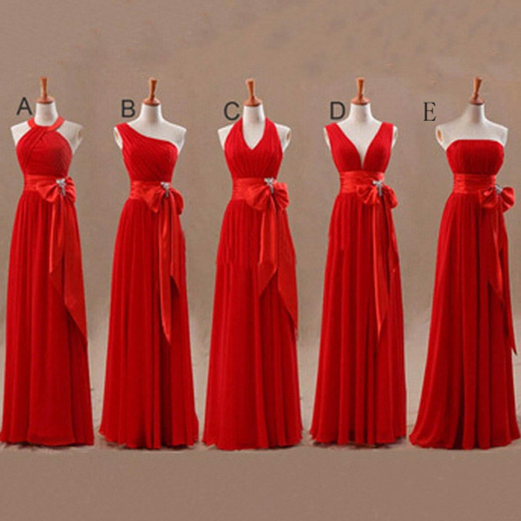A Line Mismatched Junior Red Long Bridesmaid Dresses with Bow, BG51283 - Bubble Gown