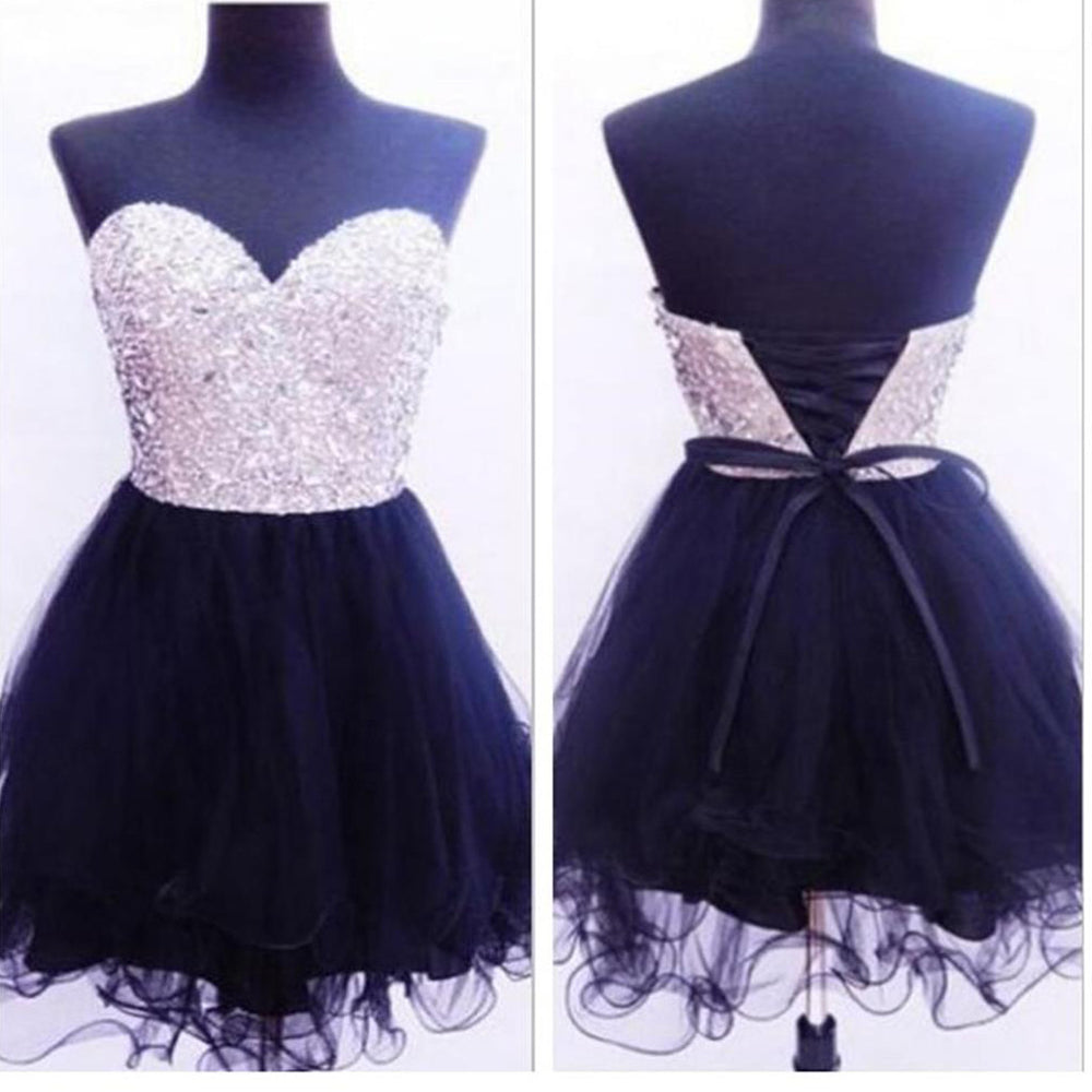 Black Sweetheart Lace Up Back Beaded Homecoming Dresses, BG51416