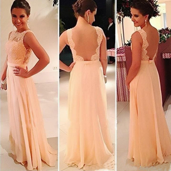 Lace Top Seen Through Back Cheap Prom Chiffon Long Bridesmaid Dress, BG51361 - Bubble Gown