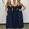 Elegant Lace Top Navy Blue Floor-Length Bridesmaid Dresses, BG51261
