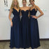 Elegant Lace Top Navy Blue Floor-Length Bridesmaid Dresses, BG51261 - Bubble Gown