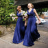 Chiffon V-Neck Simple Cheap Formal Royal Blue Long Bridesmaid Dresses, BG51333 - Bubble Gown