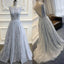 Elegant Low Back Tulle Applique Long Affordable Evening Prom Dresses, BG51542