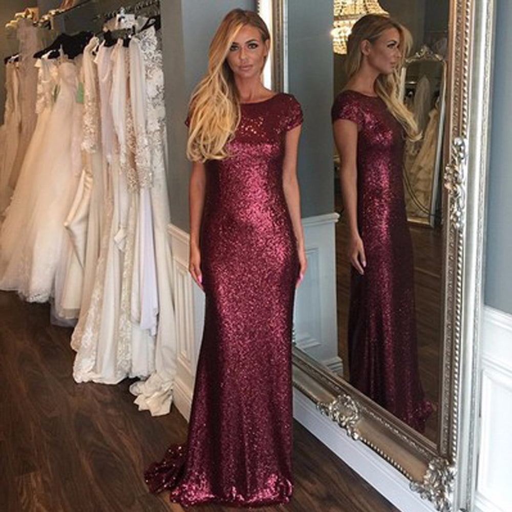 Short Sleeve Mermaid Women Sequin Long Bridesmaid Dresses, BG51378