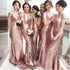 Rose Gold Sequin Short Sleeve Mermaid Long Wedding Party Bridesmaid Dresses, BG51366
