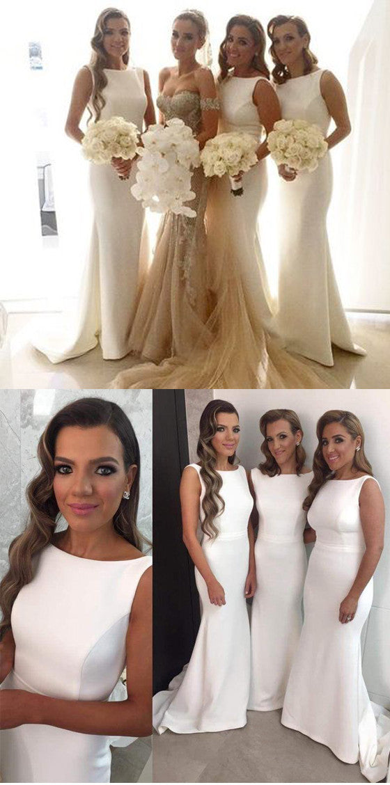 Affordable White Sexy Mermaid Long Wedding Party Bridesmaid Dresses, BG51253 - Bubble Gown