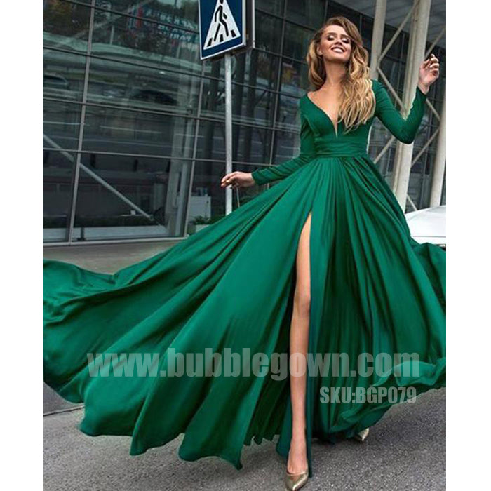 Simple Cheap Long Sleeves Side Split Elegant Formal Party Prom Dress, BGP079