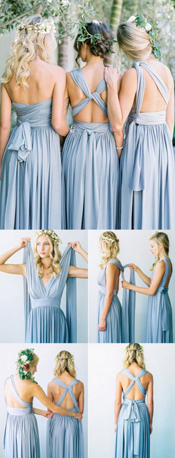 Convertible Simple Blue Jersey Floor-Length Cheap Bridesmaid Dresses, BG51262 - Bubble Gown