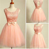 Peach Lace Top Tulle Open Back Graduation Homecoming Dresses, BG51410