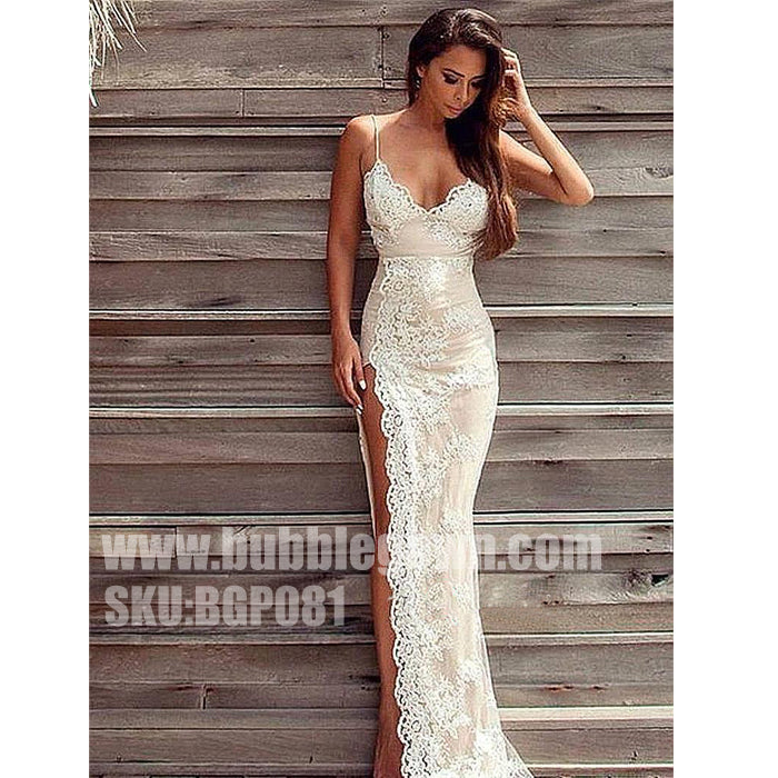 Sexy Mermaid Lace Spaghetti Strap Side Split Long Evening Prom Dress, BGP081