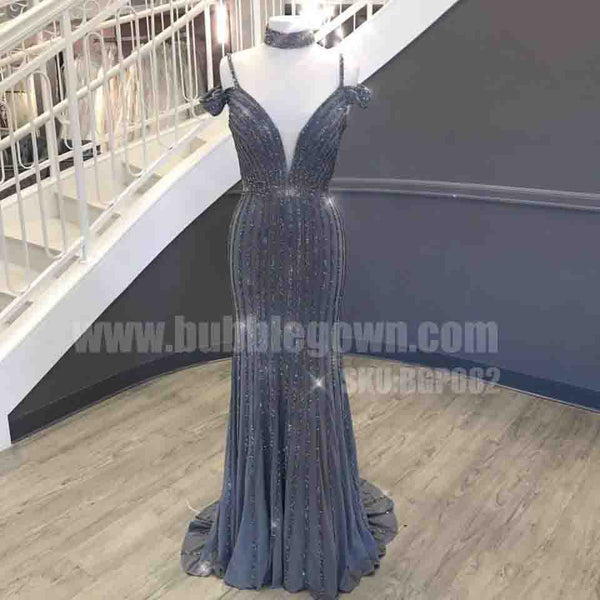 Charming Beaded Off the Shoulder Straps Mermaid Sexy Long Prom Dress, BGP082 - Bubble Gown