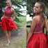 Red Two Pieces Beaded Teenages homecoming Dresses, BG51493