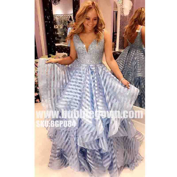 Popular Pretty V Neck Beaded Inexpensive Long Evening Prom Dresses, BGP084