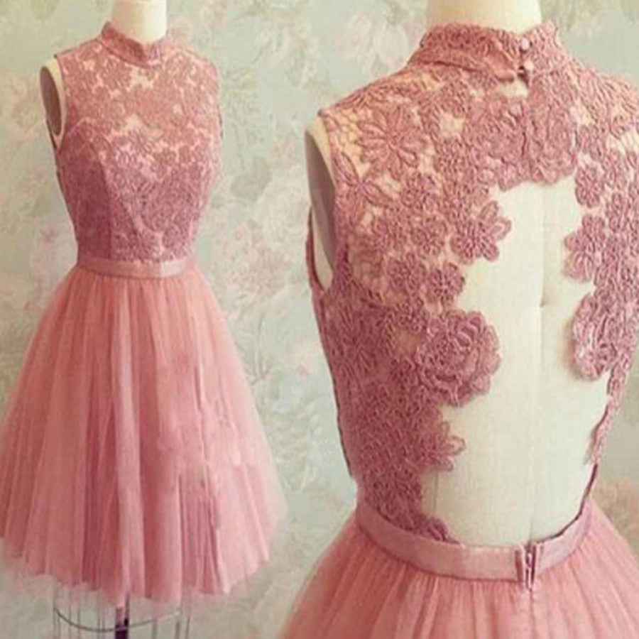 Dusty Pink High Neck Lace Top Junior Pretty Homecoming Dresses, BG51426