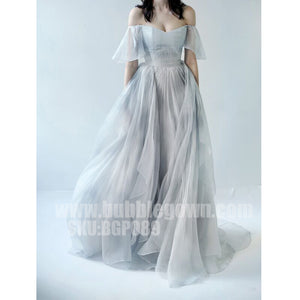Most Popular Off the Shoulder Short Sleeves Grey Blue Gradient Long Prom Dress, BGP089