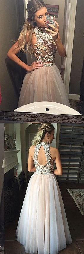 2 Piece High Neck Open Back Online Long Prom Dresses, BG51225 - Bubble Gown