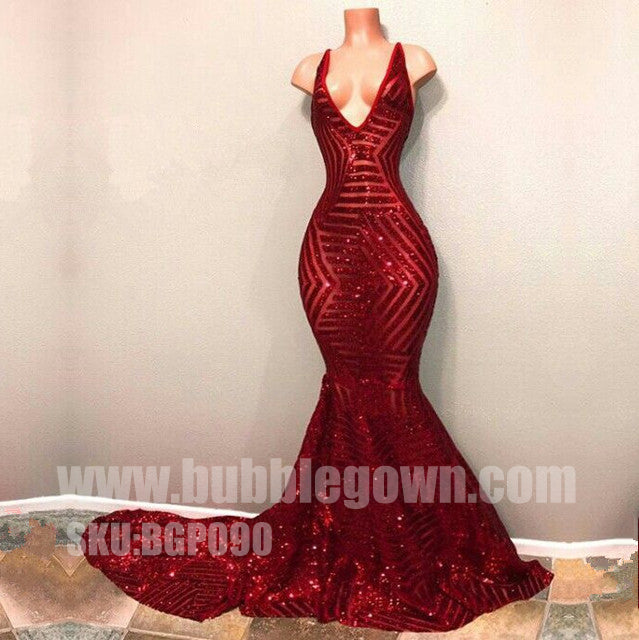 Sexy Mermaid Red Sequin V Neck Cheap Evening Long Prom Dress, BGP090