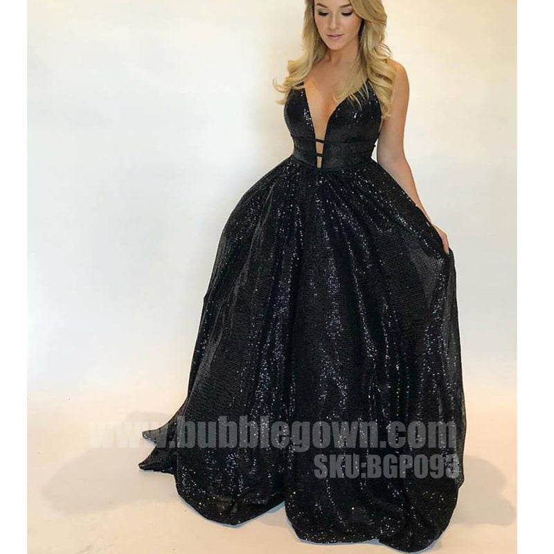 Popular Black Formal Inexpensive Sexy Sparkle Long Prom Dresses, BGP093