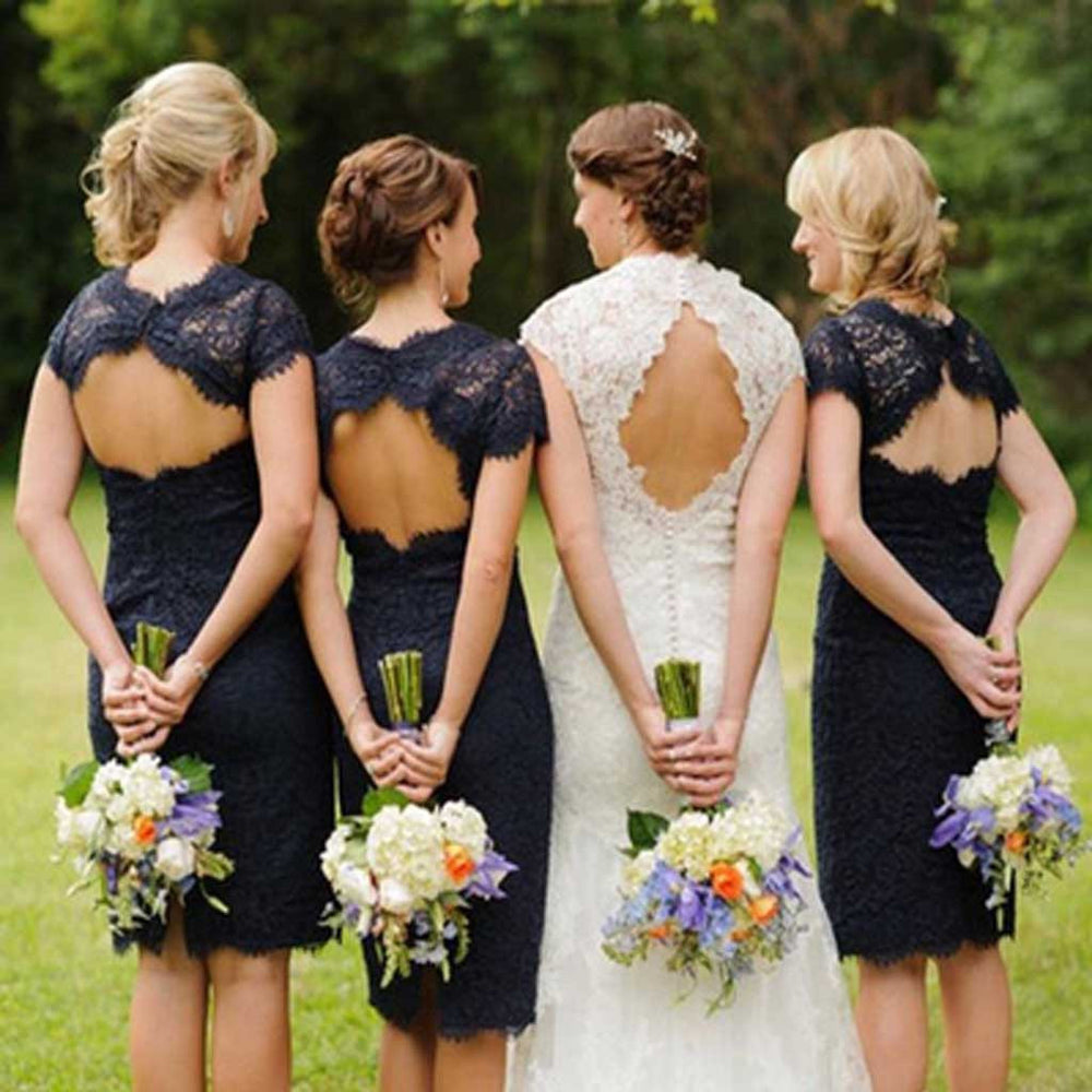 Elegant Lace Navy Blue Open Back Knee-Length Cap Sleeve Bridesmaid Dresses, BG51068