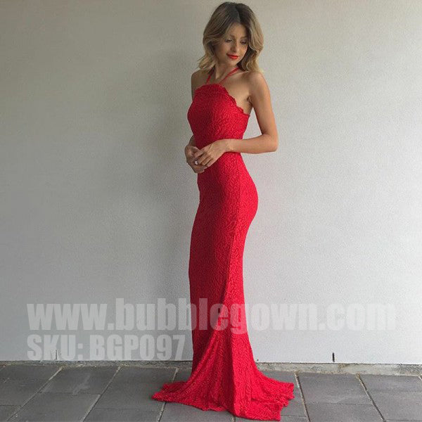 Red Halter Mermaid Sexy Lace Cheap Long Prom Dresses, BGP097
