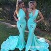 Blue Mermaid Mismatched Sexy Long Wedding Party Dresses, BG51391