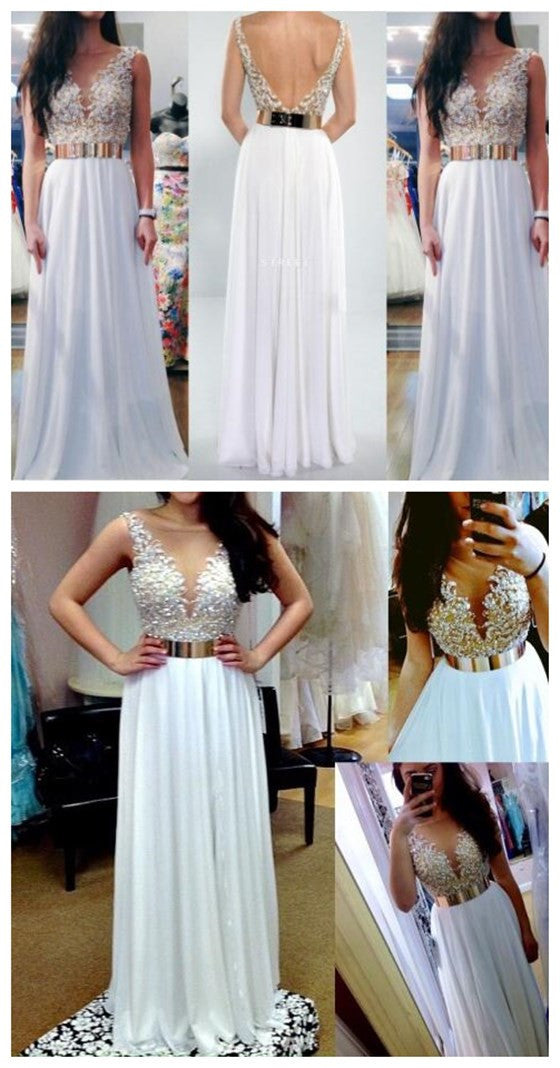 White V- Back Long Cheap Evening Party Long Prom Dresses, BG51230